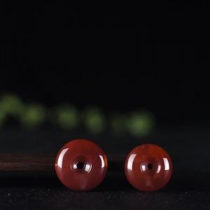 玫瑰紅南紅平安扣吊墜(二件)