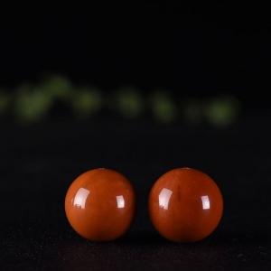 21mm柿子紅南紅圓珠配件(單件)