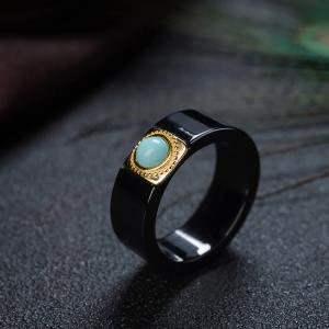 中瓷蓝绿绿松石陶瓷钢戒指