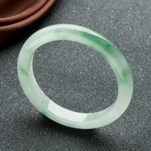 55.5mm糯冰種飄翠翡翠平安鐲