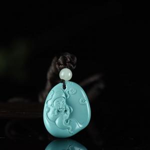 高瓷蓝绿松石财神吊坠