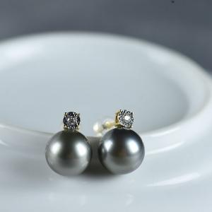 18K海水黑色珍珠耳釘