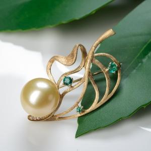 18K海水金色珍珠胸针