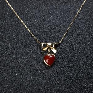 18K阿卡牛血紅珊瑚心形項鏈