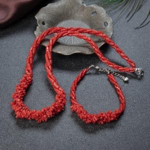 沙丁珊瑚三股项链/手链套装