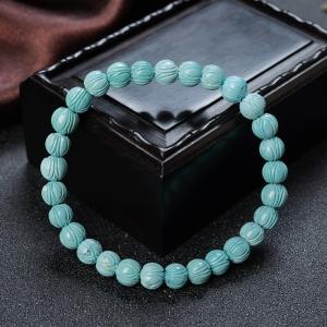 中高瓷铁线蓝绿绿松石莲花珠单圈手串