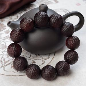 19.5mm小葉紫檀錘紋珠單圈手串