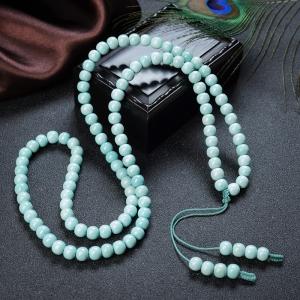中高瓷鐵線藍綠綠松石桶珠多圈手串