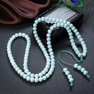 中高瓷鐵線淺藍綠松石桶珠108佛珠