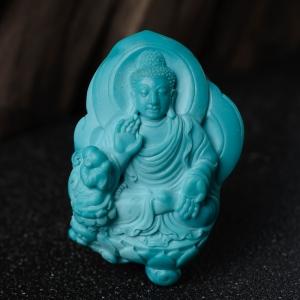 中瓷蓝绿松石大日如来吊坠