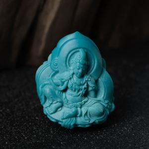 中瓷蓝绿松石度母吊坠