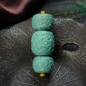 中高瓷蓝绿绿松石祥云桶珠(三件)