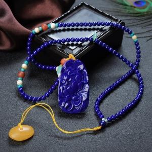 紫藍色青金石花開富貴吊墜
