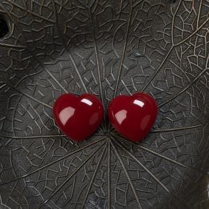 阿卡牛血红珊瑚心形戒面(两件)