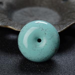 高瓷铁线蓝绿绿松石平安扣吊坠