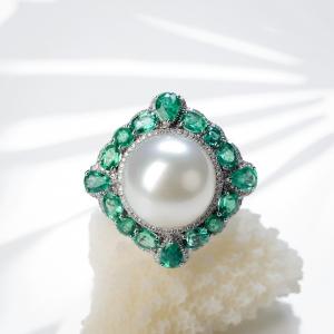 18K海水白色珍珠戒指/吊墜兩用款