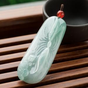 糯冰種淺綠翡翠連年有余吊墜