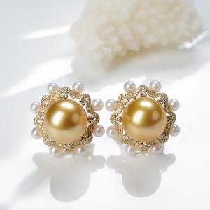 18K海水金色珍珠耳釘