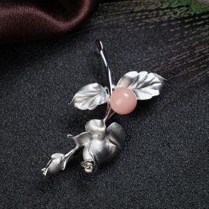 銀鑲深水珊瑚玫瑰花吊墜/胸針兩用款