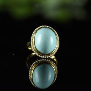 18K高瓷蓝蓝色绿松石戒指