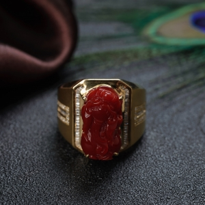 18K阿卡牛血紅珊瑚貔貅戒指