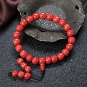 沙丁珊瑚桶珠單圈手串