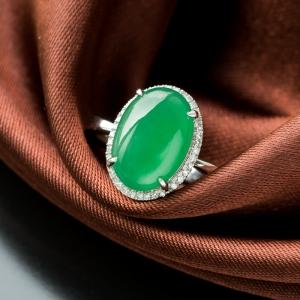 18K冰種翠綠翡翠戒指
