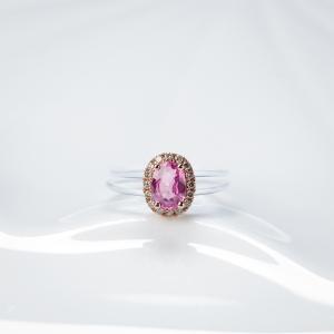18K粉色藍寶石戒指