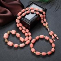 MOMO珊瑚桶珠塔链/单圈手串套装