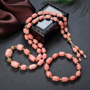 MOMO珊瑚桶珠塔鏈/單圈手串套裝