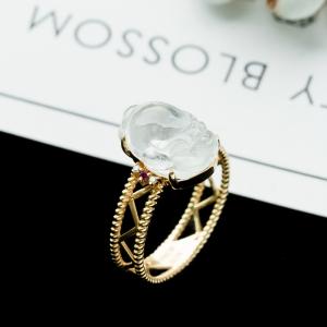 18K冰种翡翠金蟾戒指