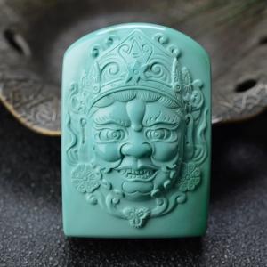 中高瓷綠色綠松石黃財神吊墜
