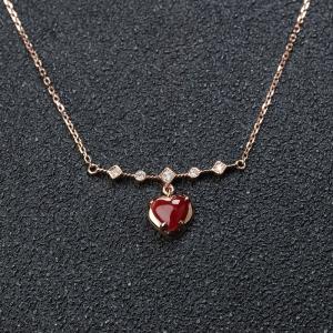 18K阿卡牛血红珊瑚心形项链