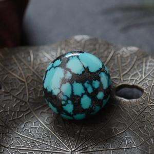 高瓷铁线蓝绿绿松石圆形戒面