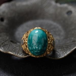 18K高瓷蓝绿绿松石貔貅戒指