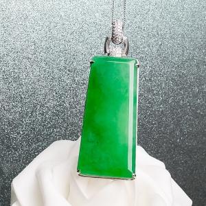 18K冰種陽綠翡翠無事牌吊墜