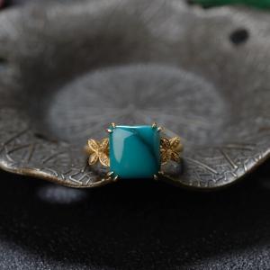 18K高瓷铁线蓝绿绿松石方形戒指