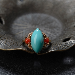 18K高瓷鐵線藍綠綠松石馬眼形戒指