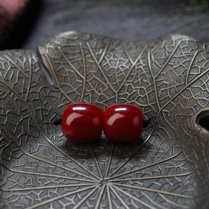 阿卡牛血红珊瑚桶珠(两件)