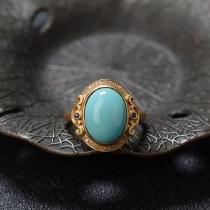 18K高瓷浅蓝绿松石戒指