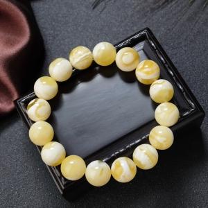 13mm白花蜜蠟單圈手串