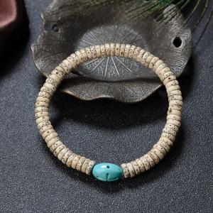 中高瓷铁线蓝绿绿松石配菩提单圈手串