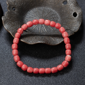MOMO珊瑚桶珠單圈手串