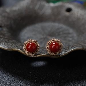 18K阿卡牛血紅珊瑚圓珠耳釘