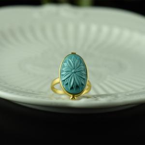 18K高瓷蓝蓝色绿松石香盒戒指