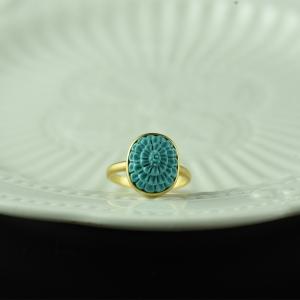 18K中高瓷蓝蓝色绿松石戒指