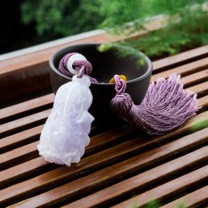 糯冰种紫罗兰翡翠百财吊坠