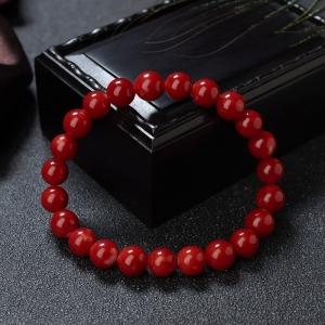 8.5mm阿卡牛血紅珊瑚單圈手串
