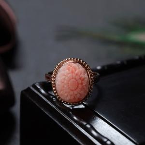 18K深水珊瑚雕花戒指