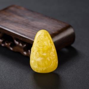 雞油黃蜜蠟彌勒佛吊墜